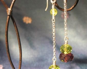 Amethyst and Peridot Crystal Dangle Earrings