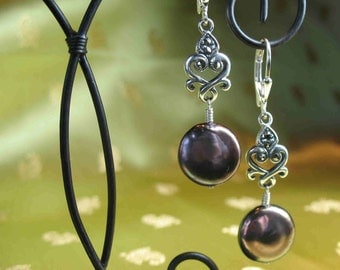 Rich Brown Pearl Earrings