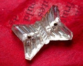 3 Vintage Glass  Butterfly Buttons