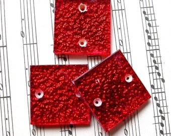 3 Vintage Glass Red Tile w/ 2  Holes