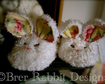BRD Shabby Chic Bunny Slippers In-the-hoop embroidery