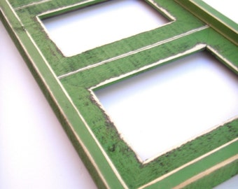 """Multi-opening collage picture frame for 2) 8"""" x 10"""" images in our colored barn wood forest green"""