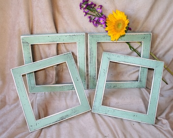 "picture photo frames 4) frames 8x8 OR 8x10 in our ""Colored Barnwood"" Style (You Choose From 63 Colors) 1-1/2"" Wide Frames."