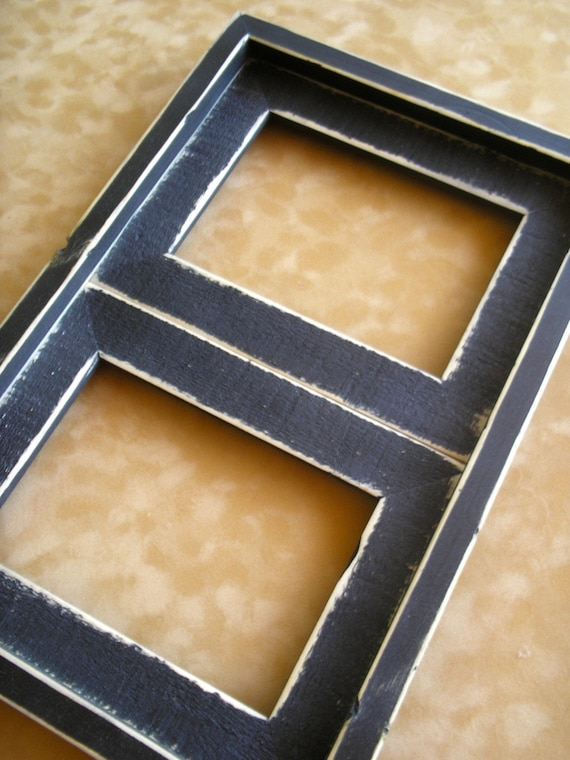 Weathered Rustic Style multi opening photo picture frame 2) 4x6 openings Coose from 63 colors (...available in ANY size...)