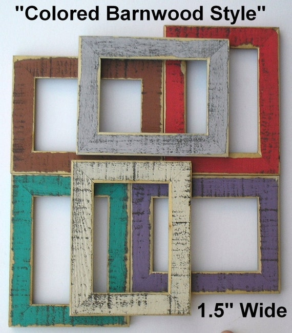 11x14 Colored Barnwood Rustic Picture Photo Frame  ( 7 Colors ) with Glass (We can make these in ANY size)