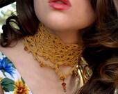 Golden Drops Crochet Choker