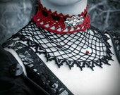 Vamp gothic net and lace collar black and red