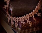 Amber Drops - Crochet Lace Choker Copper