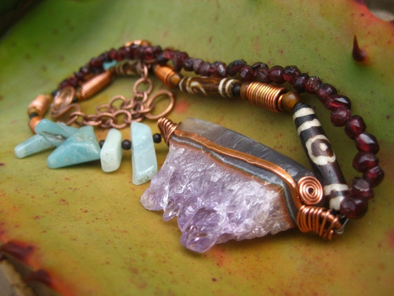 Shamanic Healer Choker Necklace with Amethyst, Amazonite, Garnet, Copper, and African Horn Beads