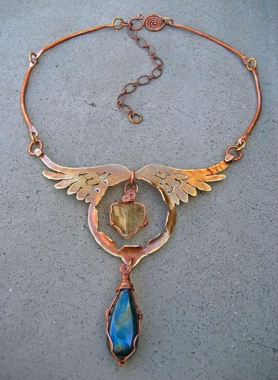 Angel Diva Amulet, Angel Hair Quartz, Labradorite, Angel Wing Necklace, Bohemian Metalsmith Design