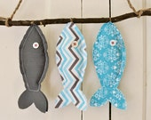Three Wish Fish in Gray and Turquoise - Wall Decor