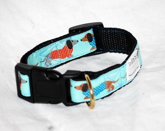 """The Blue Dachshund Collar 1"""" wide webbing send neck measurements for a custom fit"""