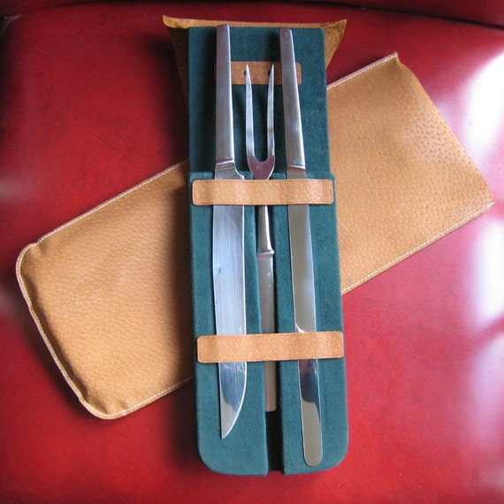 Vintage Carving Set Knives & Fork in Case - Austria, Stainless Steel RESERVED for JivyIvy