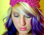 KEIKO LYNN - Beautiful and fun headband in MAGENTA with sequins and beading