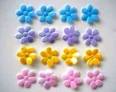 CLEARANCE 20 padded shiny iridescent flower appliques EM-233 for hair clips, scrapbooking, card making and more