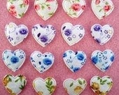 12 padded floral heart appliques EM-223 for hair clips, scrapbooking, card making and more