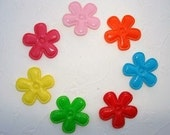 CLEARANCE 14 padded shiny pvc flower appliques EM-234 for hair clips, doll clothes and more