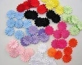 30 padded satin and felt flower appliques embellishments double sided EM-06