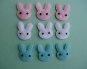ALL BLUE 12 padded felt bunny rabbit heads Easter appliques embellishments EM-99 hair clips scrapbooking