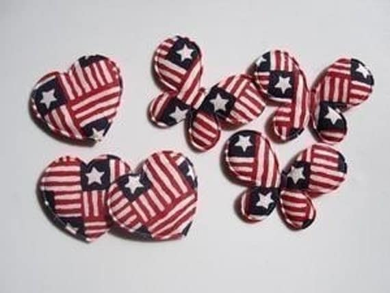LAST SET 10 Patriotic butterflies padded appliques embellishments EM-21