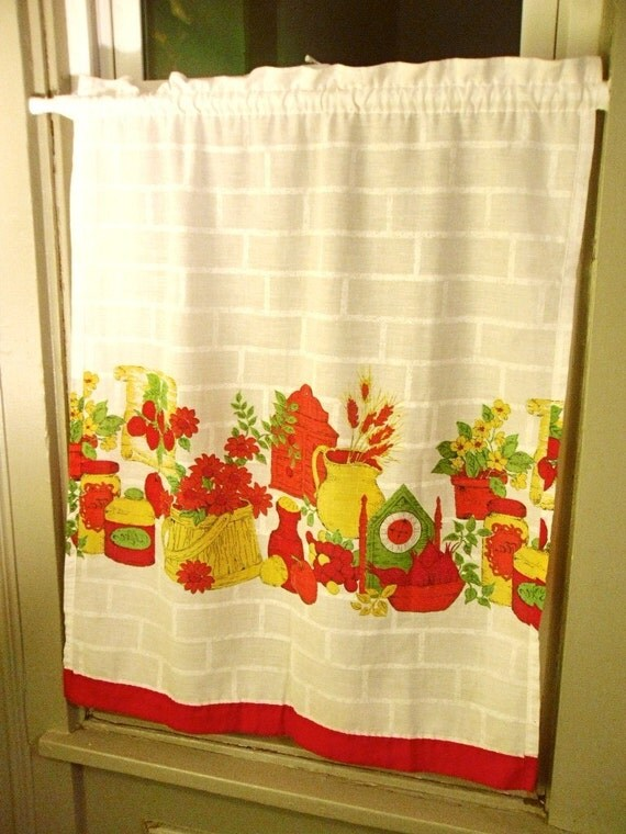 Set of four vintage kitchen curtains by redpopshop on etsy