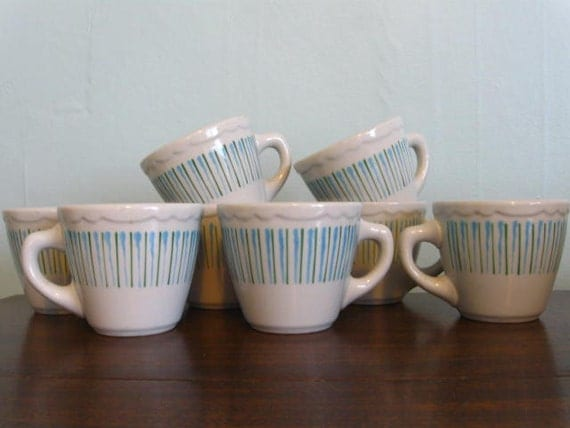 EIGHT Vintage Sterling Vitrified China Diner Cups