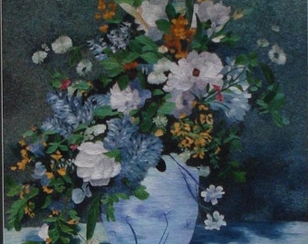 Chinese Suzhou handmade silk embroidery still life flowers painting
