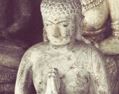 Buddhist, greeting, exotic travel, buddha photography, print, purple, grey, stone, philosophy, zen, yoga, fine art photograph