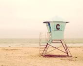 Mint green, pastel, sandy yellow, teal, beach, California, Cornado, vacation, Life Guard Stand, sea breeze, fine art photograph