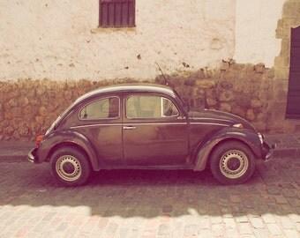 "Slug Bug, vintage beetle, volkswagen, pastel pinks, browns, sand stone color, car, brick, fine art photograph 8""x10"""