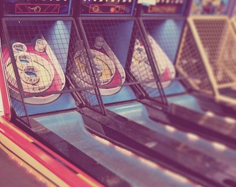 Games, gifts for him, old arcade, winning, Skee Ball, blue, yellow, red, carnival game, beach board walk, retro, fine art photograph