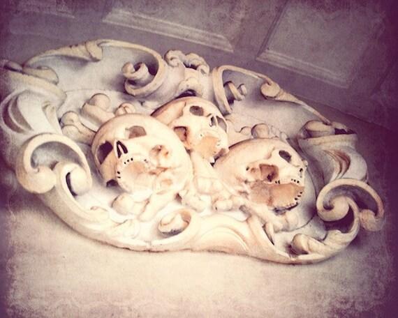 "Skull, skulls, halloween, architecture, detail, spooky, epitaph, dead, gothic, bone, white, scary, fine art photograph 8""x10"""