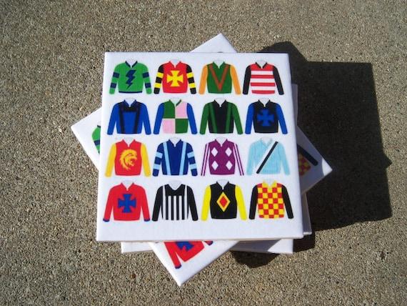 Derby Jockey Silk Coasters Ceramic Tile  free shipping