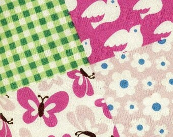 SALE - Pretty Patchwork in Pink - Cotton - By the Yard  -EK-QS31602B
