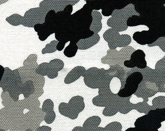 Clearance - Camouflage in Black and White Combo-Cotton Canvas - Half Yard Sale