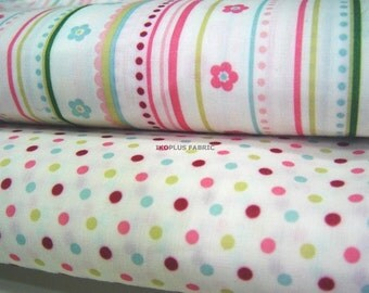 Multi Color Small Dots and Flower Stripe - Yard Bundle -