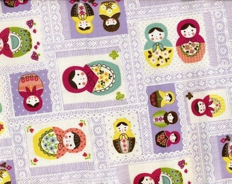 Kawaii Matryoshka Dolls with Lace Print in Purple - Japanese Cotton - EK-QS33607B