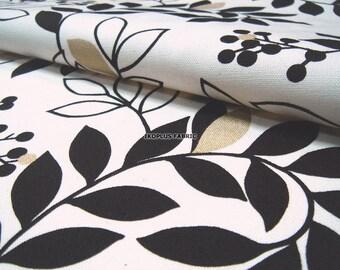 Sale - Japanese Splendid Leaf Black Gold in Cream White -- EK-QS38265A