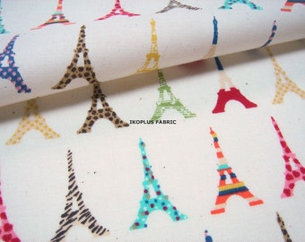 Sale - Colorful Eiffel Tower Line with Shimmer in Beige -- EK-QS38266