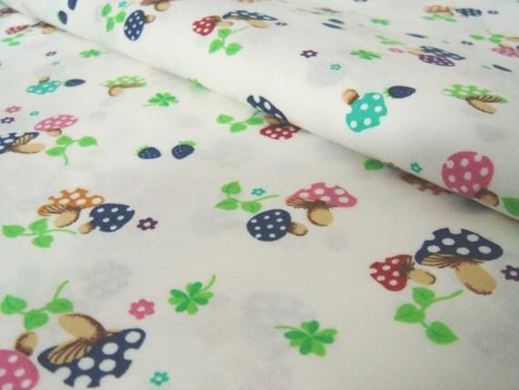 Sale - 50% Off Discount -- Mushroom and Leaf in White-Cotton-EK-QS31103A