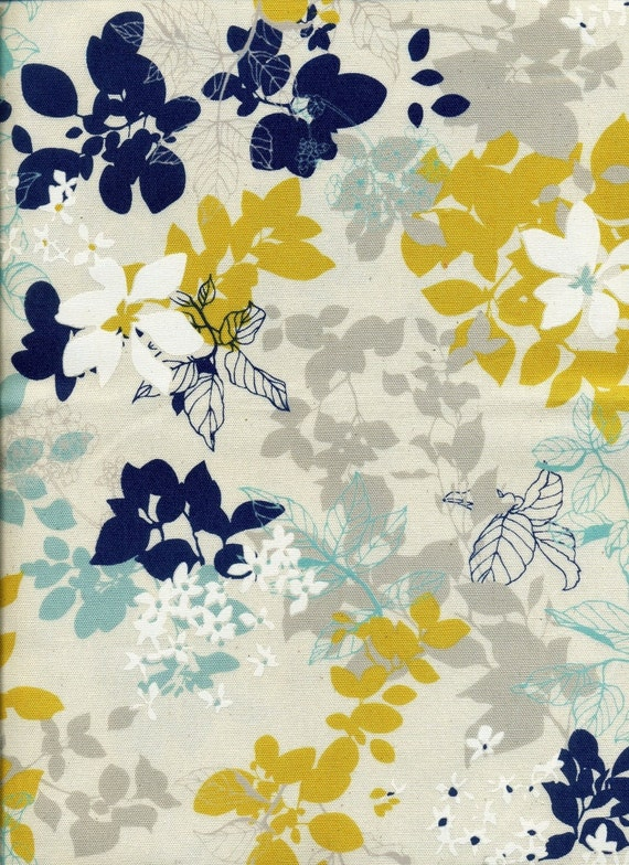 Tree Leaf With White Flower Navy Yellow Combo Japanese