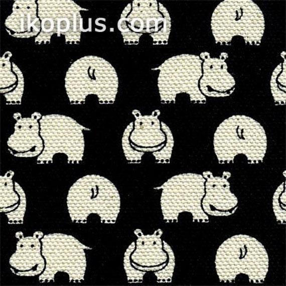Little Cute Hippo Allover Print Black and White-Cotton Canvas - EK-QS29503A