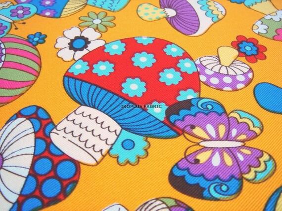 Clearance -- Full Yard -- 91 cm x 150 cm --  Fantastic Colroful Mushrooms in Orange -- Cotton Twill --EK-QS38277A