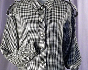 Bill Blass Dress Black and White Houndstooth Size L to XL