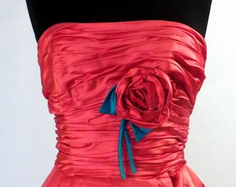 Vintage Perfection Red Satin Gown for Prom or Wedding or Event Very High End Custom Made