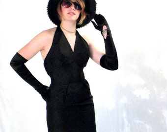 Authentic and Fabulous Early 1960s Audrey Hepburn Black Silk Halter Dress  Price Reduced