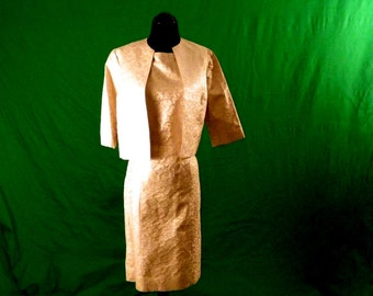 Gold Brocade 60s Two Piece Suit