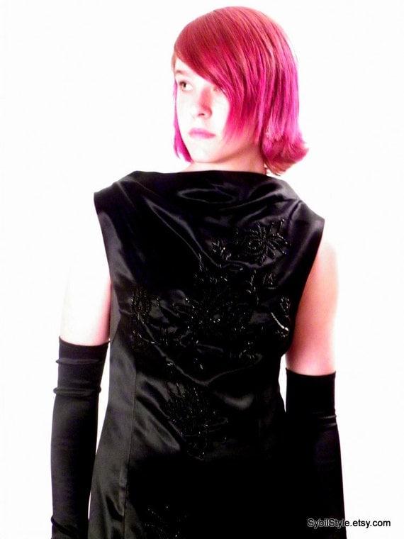 Bombshell  Black Satin Beaded Wiggle Dress 1960s Size M/L