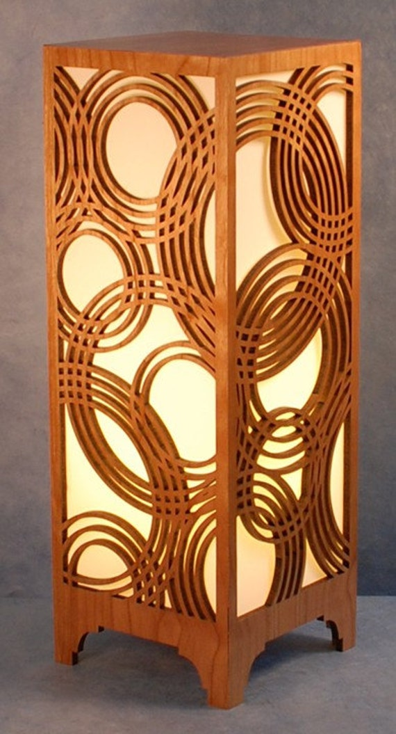 Laser Cut Wood Lamp Rain on Water by RonMacken on Etsy