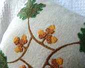 Craftsman Style Hand Embroidered Oak and Acorn Pillow